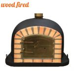 BLACK DELUXE WOOD FIRED PIZZA OVEN 70CM-100CM, ORANGE ARCH, GOLD DOOR